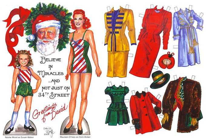 Miracle On 34th Street 1947 paper doll - Natalie Wood as Susan Walker and Maureen O'Hara as Doris Walker