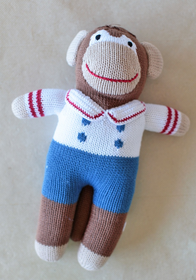 Marty The Monkey Stuffed Animal 22.99 at shopruche.com. Handcrafted in a soft cotton knit, this adorable plush monkey is ready for sailing and cuddling in a darling blue and ivory suit with embroidered details. All ages. Hand wash.100% Cotton , Fill: 100% Polyester: Children Gifts, Socks Monkey, Vintage Children, Monkey Stuffed, Modern Vintage, Marty, 22 99, Children Outfit, Stuffed Animal