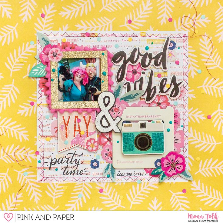 Party layout with Crate Paper - Good Vibes collection by Mona Toth