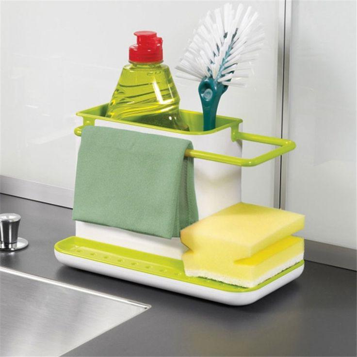 Amazing 3 IN 1 Glove Storage Debris Rack Dishclout Storage Rack kitchen Stands Utensils black green yellow color