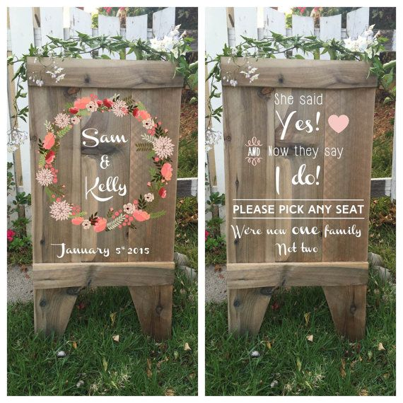 Welcome wedding sign, double sided aged wood sandwich board with wedding day schedule