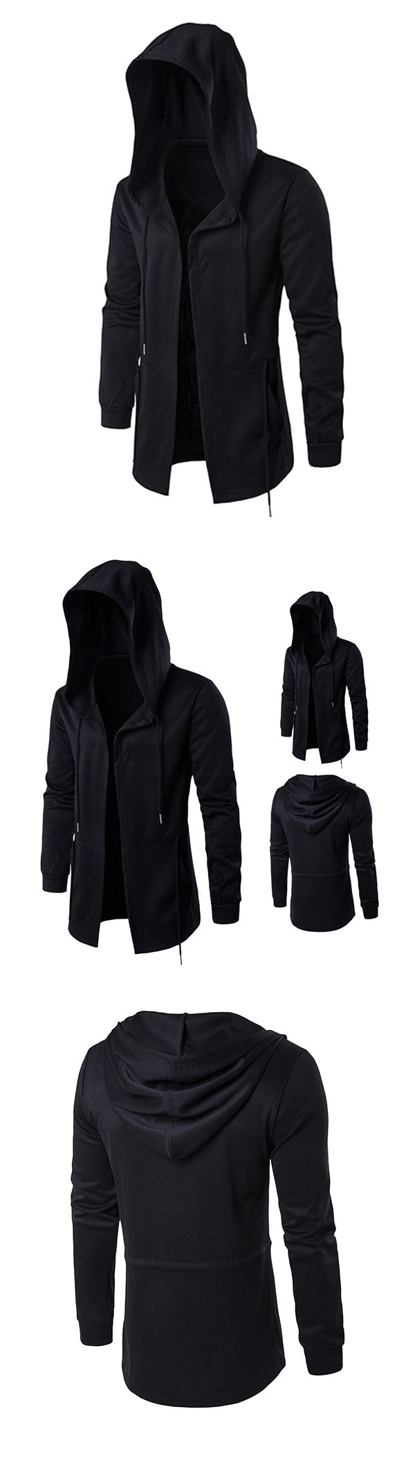 Fashion Casual Outfit: Black Cloak Hooded Jacket for Men