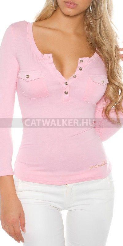 Női felső gombokkal díszített - rózsaszín