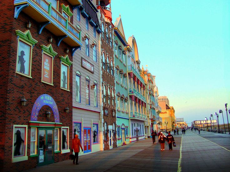 Walk along the longest boardwalk in the world in Atlantic City, the city whose streets the properties in the game Monopoly were named after.