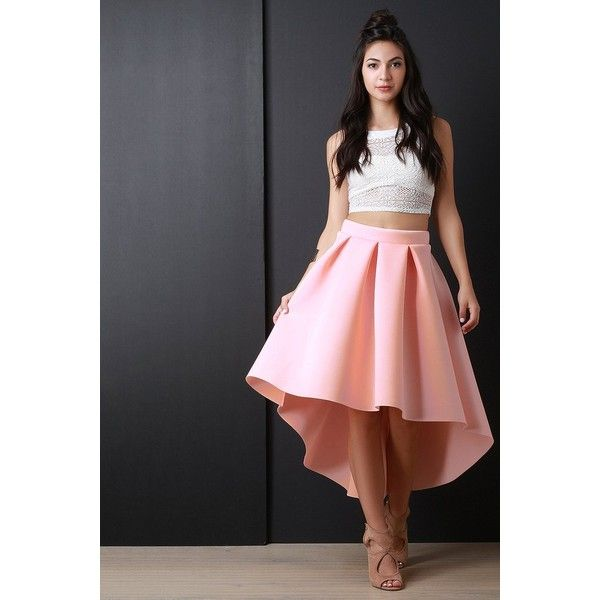 Scuba Box Pleated High-Low A-Line Skirt (2,345 MKD) ❤ liked on Polyvore featuring skirts, wide skirt, hi lo skirt, high low skirt, dip hem skirt and hi low skirt