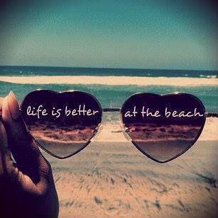 "sunglasses and a cute quote: ""life is better at the beach"""
