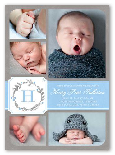 Wreath Monogram Boy 5x7 Birth Announcement | Shutterfly