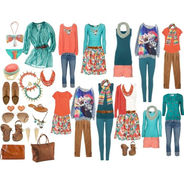 I should be able to make some of these outfits happen, since I like/have turquoise and coral - I don't have a lot of brown, but enough, I think.  on Polyvore