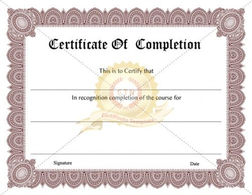 10 best completion certificate images on pinterest certificate printable certificate of completion certificate template yadclub Gallery