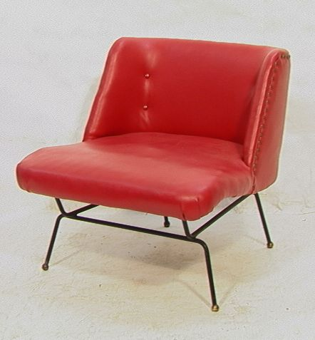 Dan Johnson; Enameled Metal and Brass Lounge Chair, 1950s.