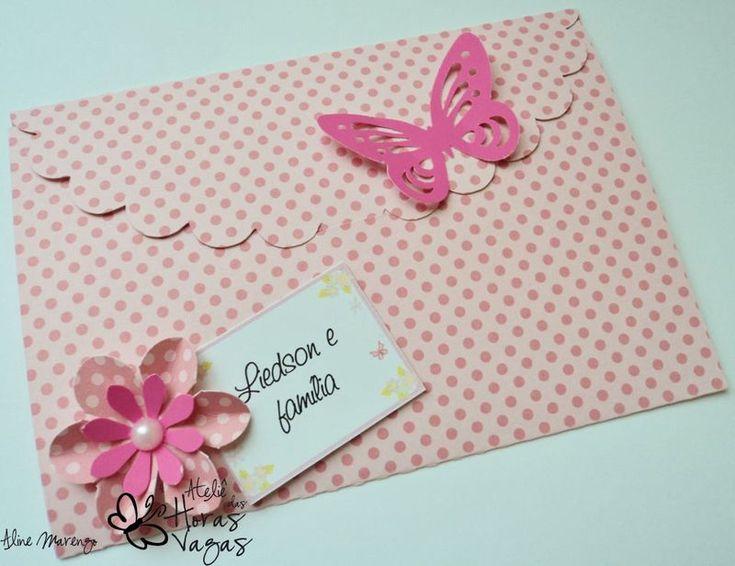 Convite artesanal Envelope - jardim flores rosa e pink