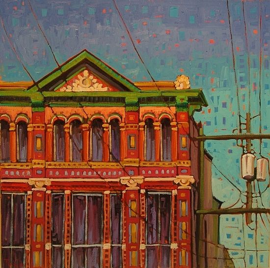 """""""Top of the Junior League Building"""" by Rene' Wiley Gallery Oil ~ 30 x 30"""