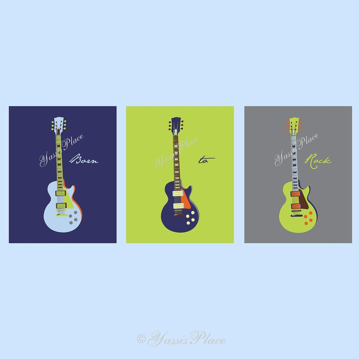 Guitar Art, Children's wall art in blue, grey, orange and green 3 pc set 11x14 by Yassisplace.etsy.com. $68.95, via Etsy.