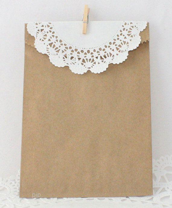 Kraft Favor Bags, Paper Doily, Mini Clothespin Kit - Set of 10