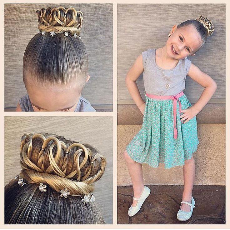 """Crown bun - princess crown Braids For Little Girls on Instagram: """"In ❤️ with this crown of hearts bun!! Credit @ashley_cardon #braidsforlittlegirls"""""""