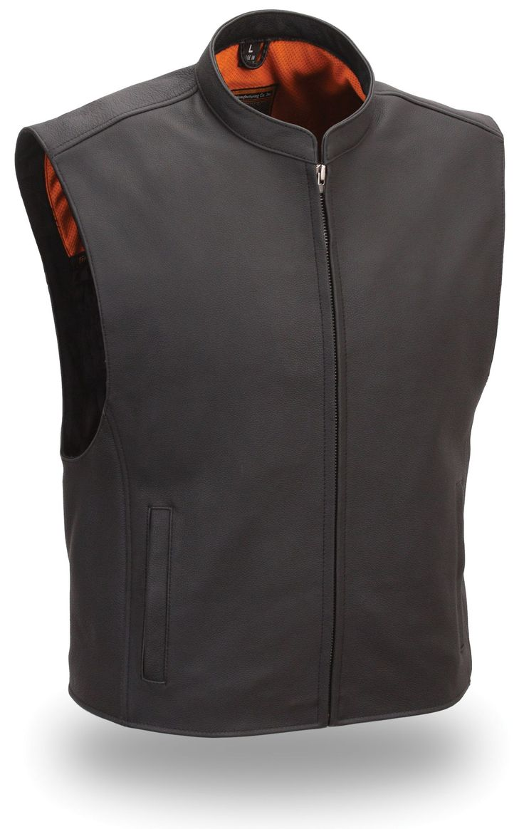 Mens Zip Front Club Patch Leather Motorcycle Vest by First Mfg.  www.mymotorcycleclothing.com