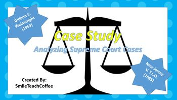Investigates Two court Cases:Gideon V. Wainwright (1963)New Jersey V. T.L.O.(1985) Students are asked to-Analyze Two readings and answer questions regarding both cases.-Complete Creative Writing Activity based on the above cases.  -Student debate is strongly suggested.