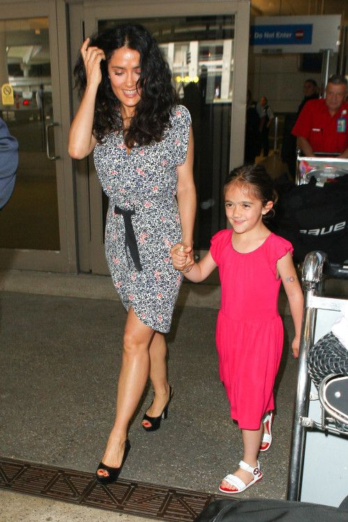 Salma Hayek and Her Daughter, Valentina, LAX Landing
