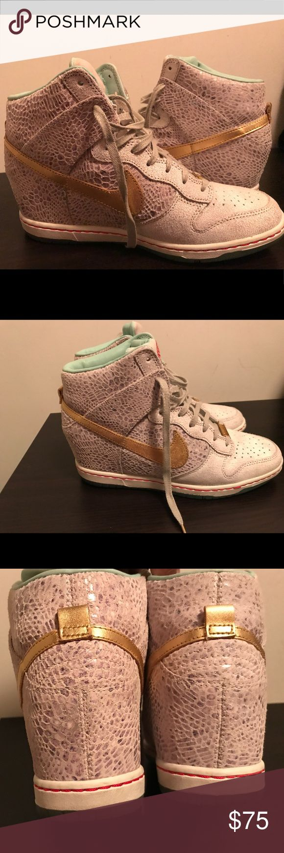 Nike Sky Hi YOTH wedge sneakers Nike Sky hi snakeskin sneakers, minimal scuffs on outer bottom of shoe. Nike Shoes Athletic Shoes