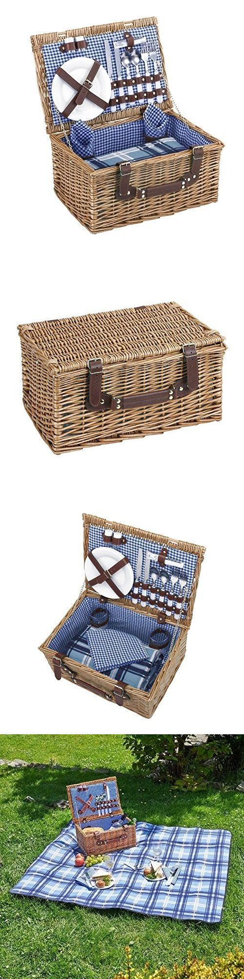 Outdoor Tableware 181383: Picnic Basket For 2 Person Deluxe Traditional Wicker Hamper Box With Accessories -> BUY IT NOW ONLY: $90.72 on eBay!