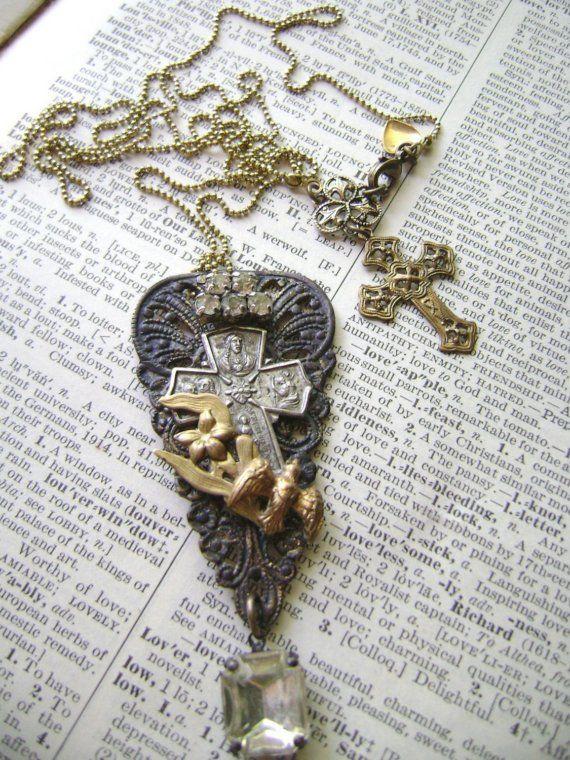 Simple Gifts (Art Nouveau) assemblage necklace