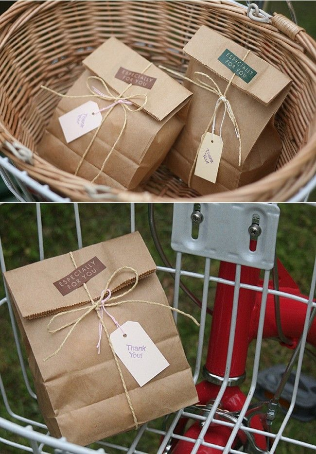 Paper bags for a quick, cheap and easy gift bag! Could use lots of different tags, ribbons etc to dress them up :)
