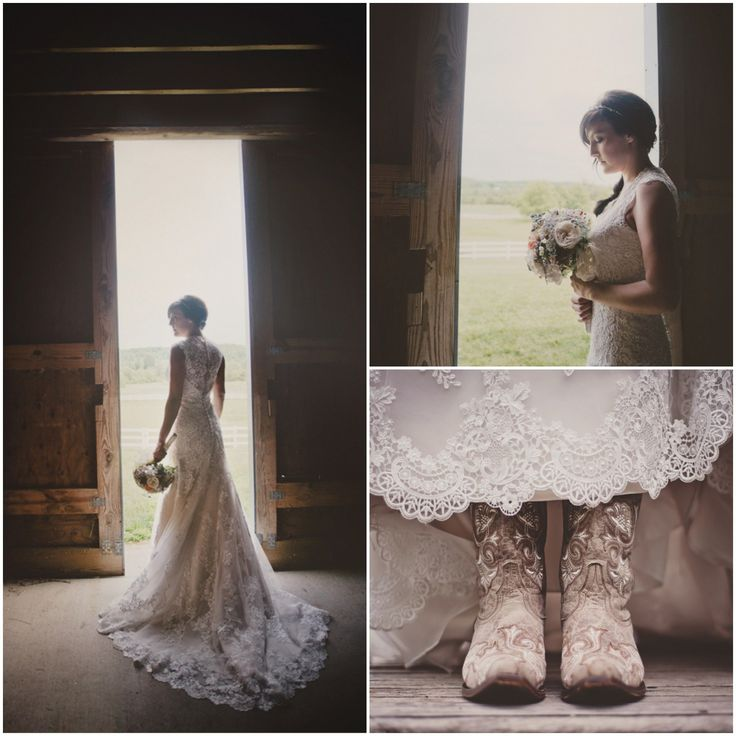Beautiful Lace Wedding Dress Teamed with Cowboy Boots