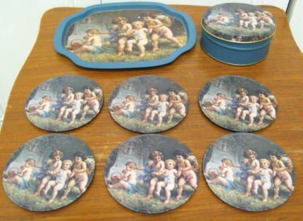 $20 Blue Vintage CHERUB DRINK 6x COASTERS & TIN TRAY Text 0411691171 or email info@bitspencer.com