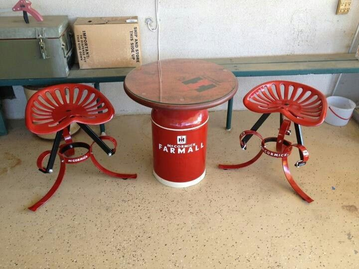 Milk Can Table And Tractor Seat Stools Home Pinterest