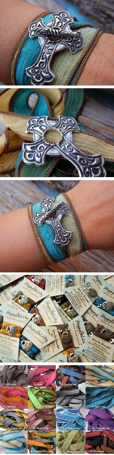 Silver Cross Silk Wrap Bracelet Sideways Silver Cross by HappyGoLicky  Would love to have this bracelet!!