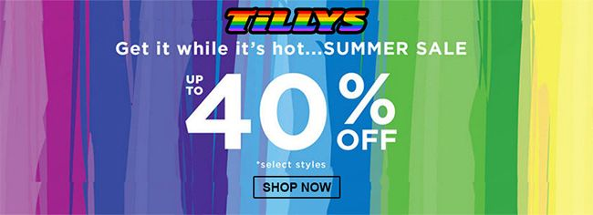 Online Summer Sale Take Up To 40 Off Select Styles Store Tillys Scope Entire Store Ends On 06 21 2020 More In 2020 Local Coupons Tillys Coupon Codes