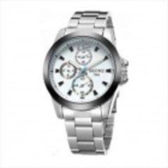 SKONE7063 Men s Fashionable Sports Quartz Watch - White + Silver