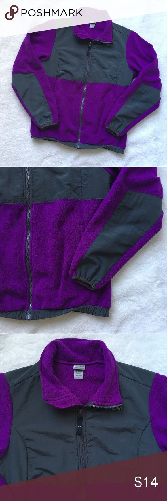 C9 by Champion Purple Zip Up Fleece Girls XL C9 by Champion Purple Zip Up Fleece Girls XL. This extra large definitely fits a small-medium women's size. I️ tried it on and it fits, I️ wear a S/M depending on the brand. It is in really good condition, seems as though the elastic at the bottom hem got a bit twisted though. Champion Jackets & Coats