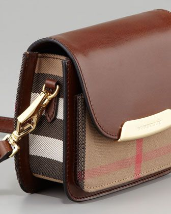 Burberry Check Small Crossbody Bag, Dark Tan - Neiman Marcus