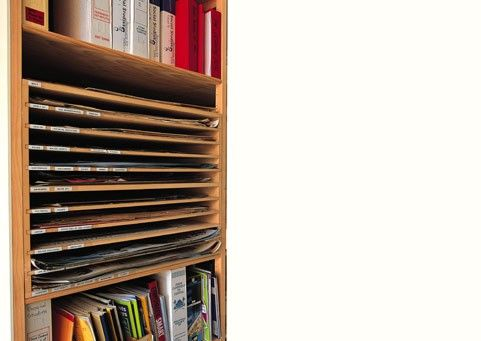 Image:Pull-out poster storage unit. Able to be used freestanding in a mobile system or in a static shelving bay.