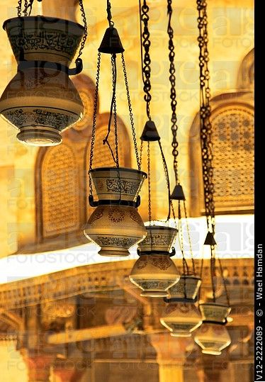 Light lamps inside Sultan Hassan Mosque in Cairo Called Mishkat in Arabic