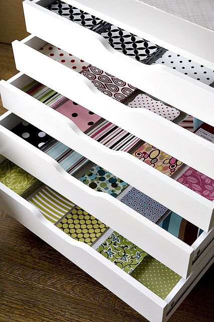 Craft Room - Great use of drawers! Ikea drawers