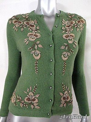 HAND BEADED BRONZE ON OLIVE WOOL VINTAGE 1950S CARDIGAN SWEATER sz 36