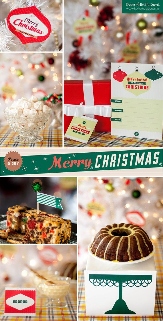 Retro Christmas Party Ideas Part - 46: Our Merry Retro Christmas Themed Party Printable Decorations Are Designed  To Highlight The Classic House Party Styling Of The Late And Early