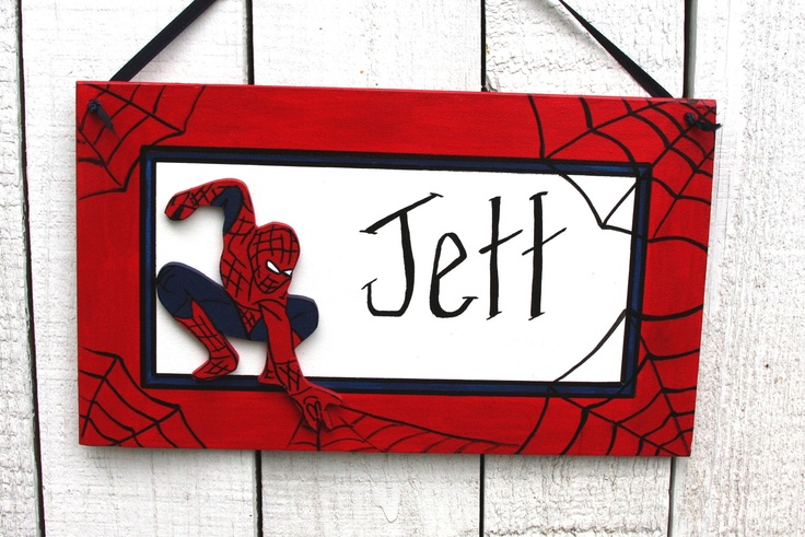 SpiderMan Name sign/room, door, birthday. $19.00, via Etsy.