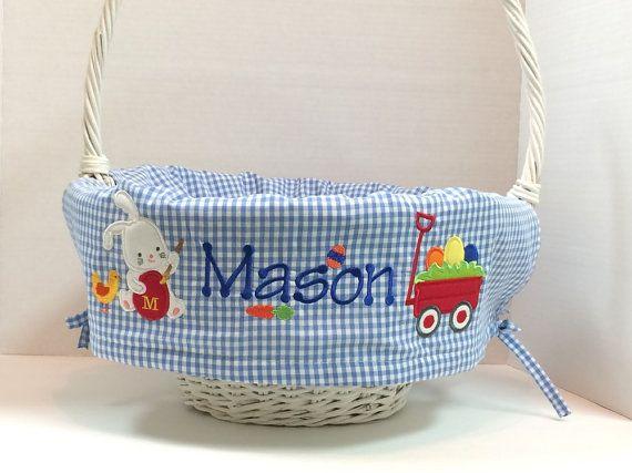 "Personalized Easter Basket Liner for Girls and Boys, Fits Pottery Barn Kids Large 16"" Diameter Basket, YOU DESIGN IT!"
