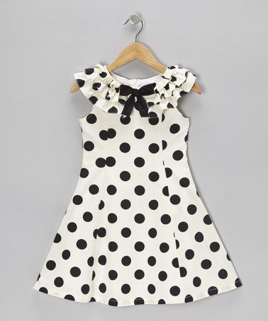 Take a look at this Black  Cream Polka Dot A-Line Dress - Girls by Willoughby on #zulily today!