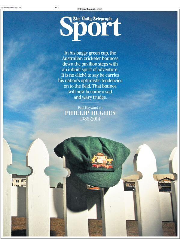 Excepcional la portada de Deportes del @Telegraph dedicada al fallecido Phillip Hughes (vía @suttonnick)