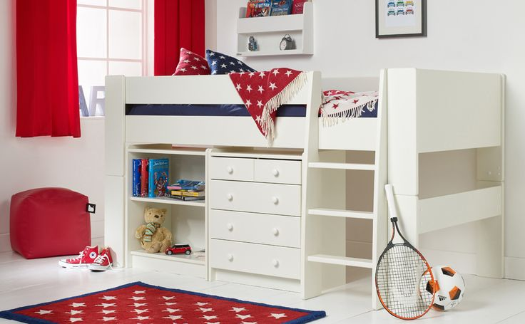 Won't fit the width of Ivy's room - Solitaire White Midsleeper with freestanding Bookcase and Chest - can be split down to standalone single bed in future if needed. £399, Length: 2074mm, Width: 1115mm, Height: 1131mm