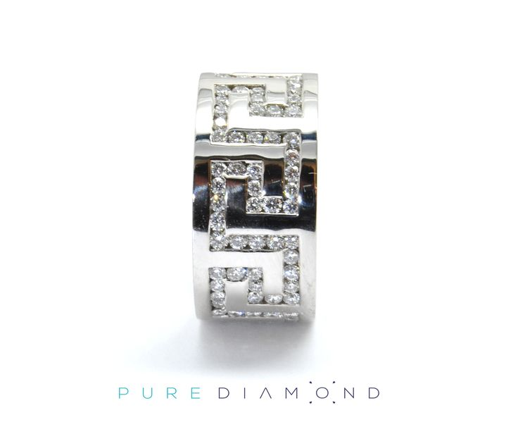 Flat and comfortable to wear, zig zag diamond pattern will make this diamond ring shiny and attention grabbing. Extremely difficult to produce this ring is very comfortable to wear. At PureDiamond.ca we have unparalleled friendly service.  If you're in the Greater Vancouver area please call (604) 563-9875 to book an appointment.