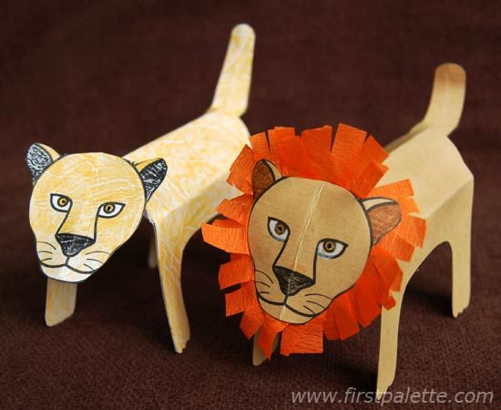 Step by step instructions on how to create folding zoo animals. A craft for kids.