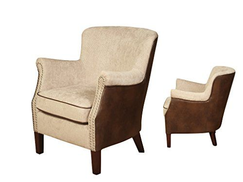 Henley Modern Fusion Wingback Fabric Leather Armchair - Finish : Mink Fabric / Tan Leather - Living Room Furniture