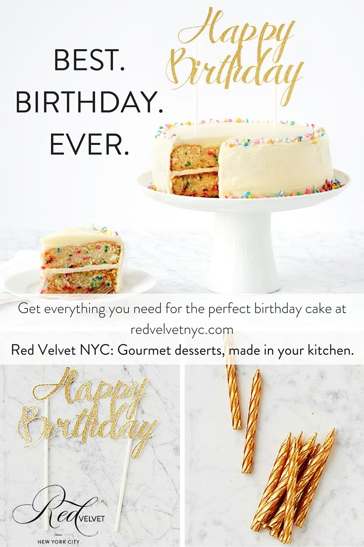 Looking to celebrate a birthday in the most memorable way possible? Look no further than Red Velvet NYC, where you can buy a DIY birthday cake kit, as well as candles and cake toppers to add a fancy finishing touch. Make your next birthday special with a dessert from Red Velvet. #birthday #cake #celebration #party