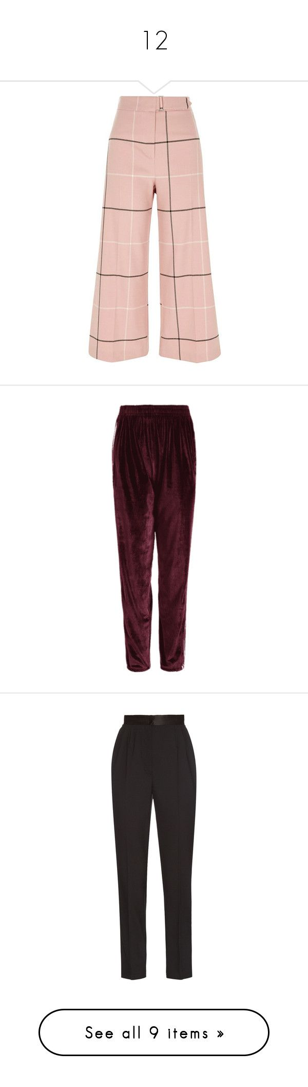 """""""12"""" by annanikolova ❤ liked on Polyvore featuring pants, capris, pink, trousers, wide leg trousers, women, high-waisted trousers, wide-leg trousers, pink high waisted pants and high waisted wide leg trousers"""