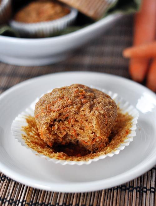 Healthy Applesauce Carrot Muffins (a.k.a. Carrot Cake Muffins) ~ doesn't this look good? They smell fantastic, they look pretty (those orange flecks are beauty), and they taste amazing. Another whole grain, healthy muffin to add to your life ~ Enjoy without the guilt!